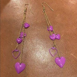 Jewelry - Purple Heart dangle earrings